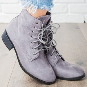 New! Kennedy Light Gray Faux Suede COMBAT BOOTS